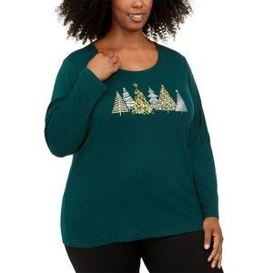 Karen Scott LS Cotton Holiday Top Winter Forest